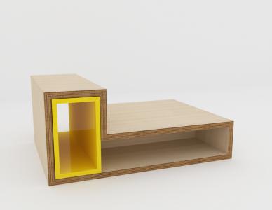 Table basse Méli-Mélo, caisson laqué jaune