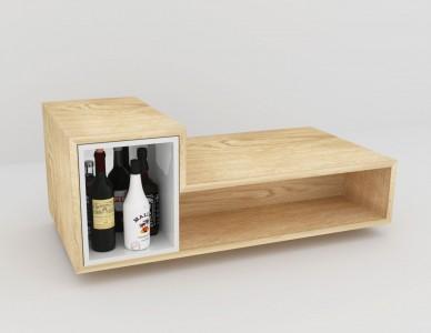 Table basse Bar, plaquée chêne