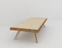 Table basse rectangulaire, plateau biseauté, piètement acier, en multiplis de bouleau