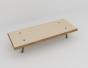 Table basse en multiplis de bouleau, pieds en acier, plateau bouleau biseauté, multiplis de bouleau vernis