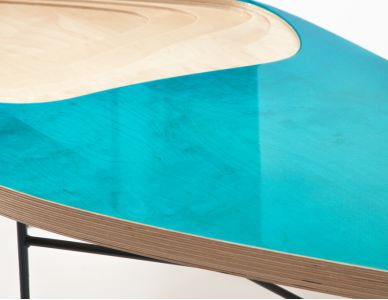 Table basse Fidji 322, résine transparente