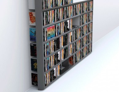Bibliothèque Wall Disc, laquée gris