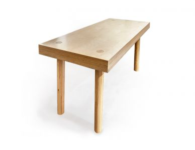 Table Etabli, en multiplis de bouleau massif